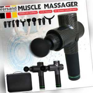 Electric Massage Gun Massagepistole LCD Massagegerät 32/30 Modi + 5/10 Köpfe DHL
