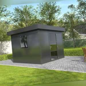 Gartenhaus Flachdach 300x300 cm Metall Gerätehaus Outdoor Bausatz anthrazit
