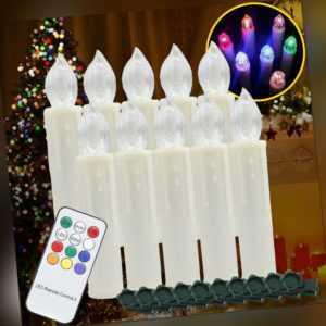LED Weihnachtskerzen mit Timer Weihnachtsbaumkerzen Classic 10X kabellose RGB