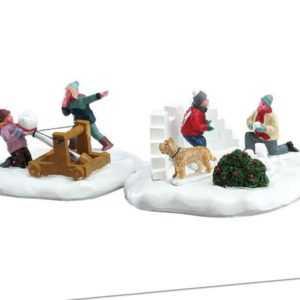 Lemax Snowball Surprise, Weihnachtsdorf, Weihnachtsdeko, Schneeballschlacht