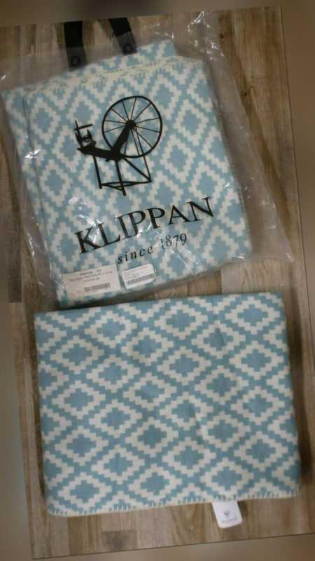 Klippan Wohndecke Kuscheldecke türkis natur Rauten 100% Baumwolle