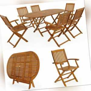 Sitzgruppe Holz Garten Gartenmöbel Sitzgarnitur Set Essgruppe Tisch Boston bis 6