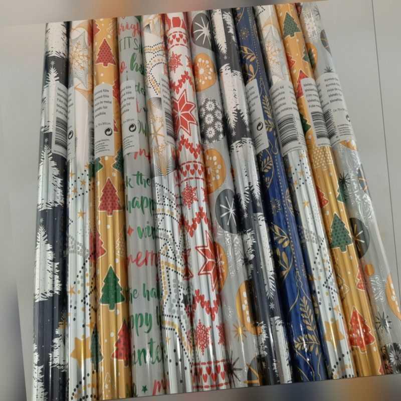 Geschenkpapier Weihnachten 12er Set Papier oder Folie bunt gemischt 70x300 cm
