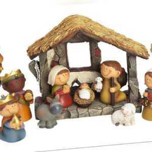 Kleine Deko Weihnachts Krippe 12-tlg Kinder Krippenfiguren mit Stall Weihnachten