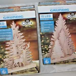 Weihnachtsbaum & Reh aus geschnitzten Holz Weihnachtsdeko Licht Deko