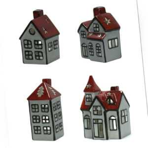 Teelicht Winterhaus aus Keramik - Weihnachtsdeko Weihnachtshaus Windlicht