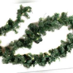 Weihnachtsgirlande 270cm mit Timer LED Beleuchtung Batterie Tannengirlande Deko