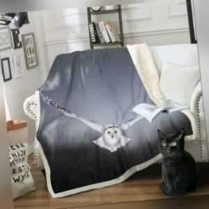 3D Weiße Eule ZHU248 Warm Plüsch Fleece Decke Picknick Sofa Couch