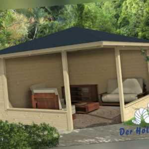 44 mm Gartenhaus 400x400 cm Blockhaus Laube Holzhaus Holz Schuppen Pavillion
