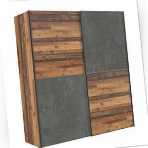 Schwebetürenschrank Kleiderschrank DEDERIK Old Wood Vintage und Beton