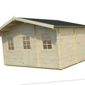 34 mm Gartenhaus 447x330 cm Havel + Fussboden, 3 Räume Gerätehaus Holzhaus