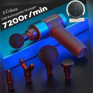 Profi LCD Massage Gun Massagepistole Massager Muscle Massagegerät + 6 Köpfe