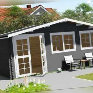 Gartenhaus aus Holz Vordach 0.5M Blockhaus 6x3M+0.5M 40mm Regensburg EB40052oFL