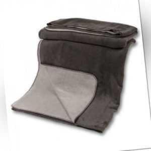Kuscheldecke mit Baumwolle doubleface anthrazit-grau 150x200 cm,