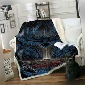 3D Blaue Eule ZHU245 Warm Plüsch Fleece Decke Picknick Sofa Couch