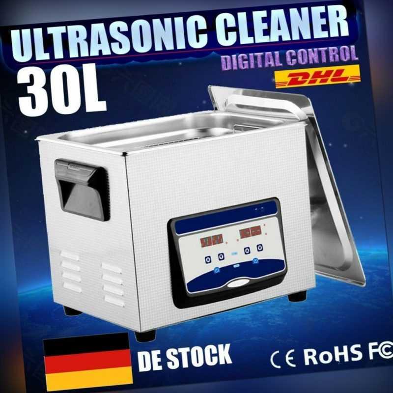 30L Edelstahl Ultraschallreinigungsgerät Ultraschallreiniger Cleaner mit Korb EU