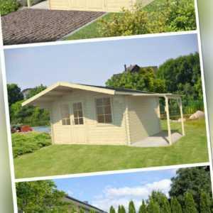 40 mm Gartenhaus + SCHLEPPDACH Holzhaus Blockhaus Gerätehaus Schuppen Holz Hütte