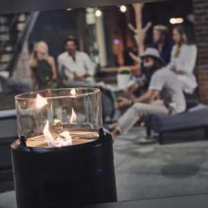 Enders Terrassenfeuer » Nova LED L Black « Ambientes Flammenspiel, 2.5 kW