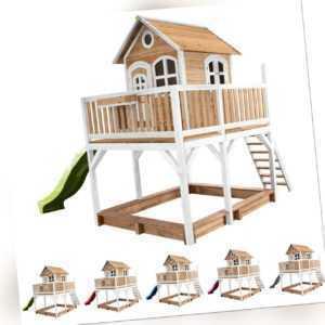 Kinderhaus Spielhaus Garten Liam Sandkasten Rutsche in 5 Farben FSC Holz