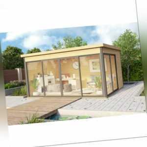 44mm Gartenhaus 418x322cm + Schiebetür + Fußboden Gerätehaus Holzhütte Holz Haus