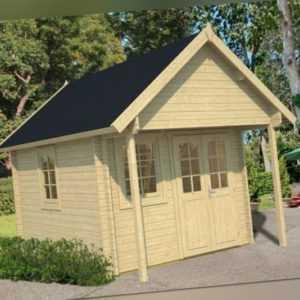 Gartenhaus BUNKIE ca. 290 x 380 cm 40 mm Bohlen mit Schlafboden + Fußboden TENE