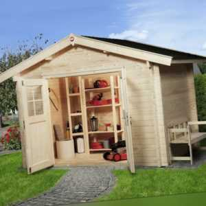 Weka Gartenhaus Premium 45 natur 6,30 m² inkl. Vordach 20 cm, 45 mm Gerätehaus