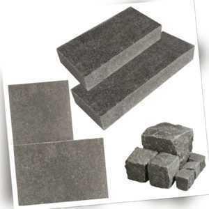 Basalto Naturstein Basalt G684 Blockstufe Bodenplatte Pflasterstein geflammt