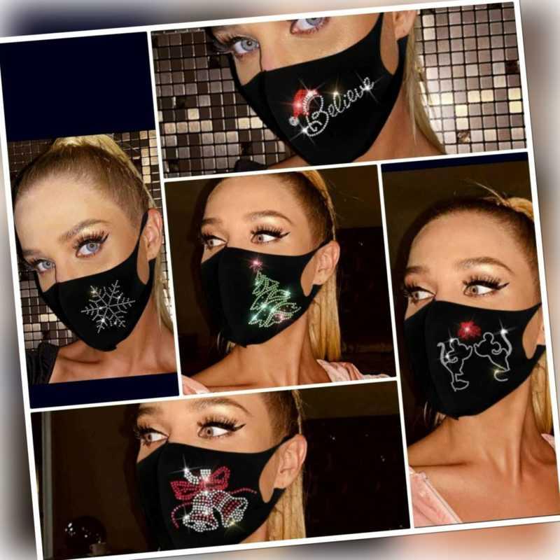 Mundmaske mit Glitzer weihnachten Crystal Gesichtmaske behelfmaske waschbar