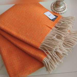 D&T Design Wolldecke 200x130cm 100% Schurwolle Orange Beige