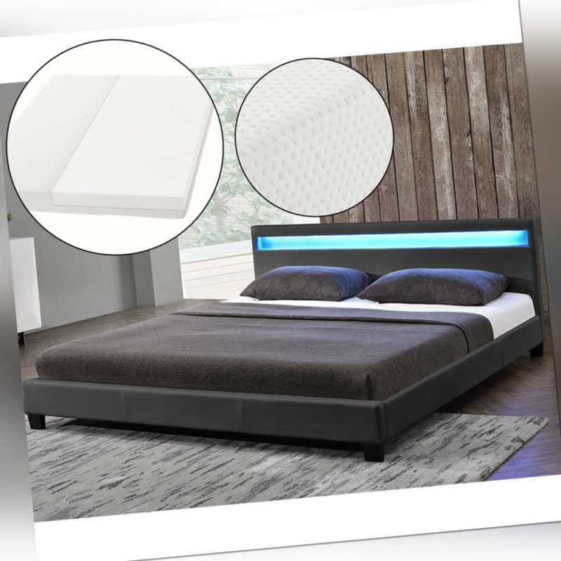 Polsterbett Doppelbett LED-Beleuchtung Grau Bettgestell Kunstleder Matratze