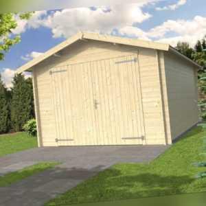28mm Holzgarage 350x530 cm Gerätehaus Holz Blockhaus Schuppen Garage Carport Neu