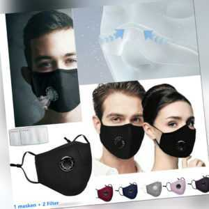 Mundschutz Atemschutzmaske Gesichtsmaske Waschbar Maske mit 2 Frei Filter&Ventil