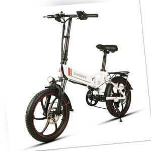 Samebike 20 Zoll Elektrofahrrad Faltrad Power Assist E-Bike 350W 35km/h 10.4AH