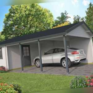 44 mm Carport + Geräteraum 770x430 cm Garage Einzelcarport Gartenhaus Holzgarage