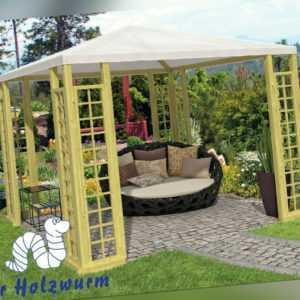 Gartenpavillon 300x300 cm 6,8 x 6,8 cm Pfosten Pavillon mit Rankgerüst Holz Neu