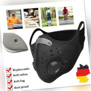 Mund-Nasen-Schutz Waschbar Maske mit Ventil Atemschutz Filtermaske Gesichtsmaske