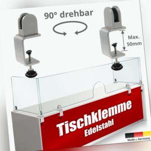 Spuckschutz Tischklemmen 12-50mm Gewinde Edelstahl+Halter Fuß 3-10,76mm Scheiben