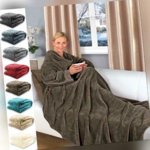Kuscheldecke mit Ärmeln Fußtasche TV Decke 200 x 170 Tagesdecke