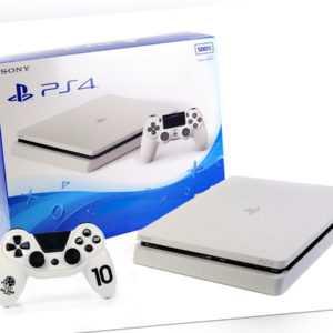 Sony PS4 Konsole - SLIM 500GB - Weiss + Neuen Subsonic Controller Gamepad Weiß