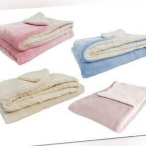 Baby Decke Sherpa 100 x 150 cm Wohndecke Kuscheldecke flauschig