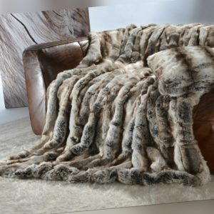 Edle Premium Felldecke aus Webpelz Wolf grau-braun 170x220cm