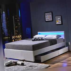 LED Polsterbett WEIß SCHWARZ GRAU Leder Bett mit Lattenrahmen option. Bettkasten