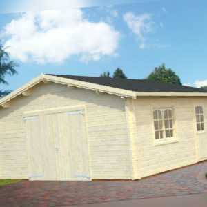70 mm Holzgarage Roger 17 / 18 / 19 Garage ca. 560x560 cm Blockhaus Carport Holz