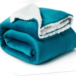 Bedsure Sherpa Decke Türkis hochwertige Wohndecken Kuscheldecken,