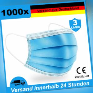 1000x Mundschutz Maske Einweg  3-lagig OP Mundbedeckung Atem-Nasen Hygienemasken