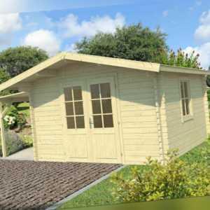 40 mm Gartenhaus 350x350cm + Schleppdach Gerätehaus Blockhaus Holzhaus Holz Neu