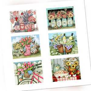 Painting By Numbers on Canvas DIY Oil Coloring Drawing Flower Picture Decor SL#