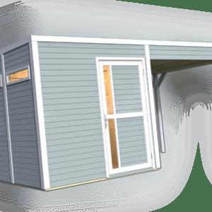 Gartenhaus + Anbau ca. 447x234 cm FARBIG Gerätehaus Holzhaus Holz Schuppen