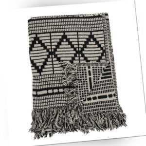 Bloomingville Decke Schwarz Grau Recycelt Baumwolle 130x160