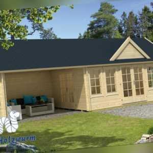 70mm Gartenhaus Big Ben ISO ca. 930x400cm Blockhaus Gerätehaus Holzhaus Schuppen